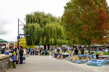 lake front: Queenstown,New Zealand - April 30,2016 : Creative Queenstown Arts and Crafts Markets which is located at the lake front at Earnslaw Park in Queenstown. There are selling wide variety of goods. Editorial