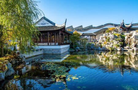 chinese garden: Dunedin,New Zealand - May 3,2016 : Main hall of The Dunedin Chinese Garden in New Zealand, it is a place for visitors to enjoy authentic Chinese tea and finger food.