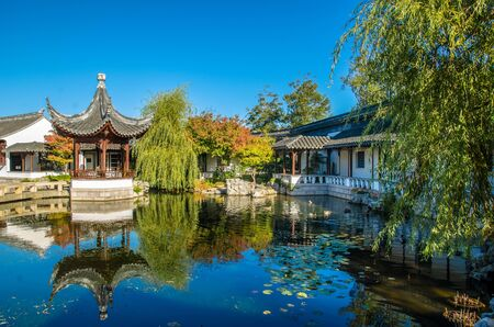 chinese garden: Dunedin,New Zealand - May 3,2016 : The Heart of the Lake Pavilion Ting of The Dunedin Chinese Garden in New Zealand.