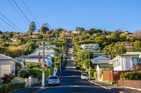 Dunedin,New Zealand - May 5, 2016 : Baldwin Street which is located in Dunedin,New Zealand is the world steepest street in the world.