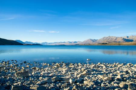 Lake Tekapo in New Zealand Archivio Fotografico
