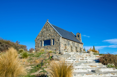 good shepherd: Lake Tekapo,New Zealand - April 19,2016 : Church of the Good Shepherd which is located at Lake Tekapo, New Zealand