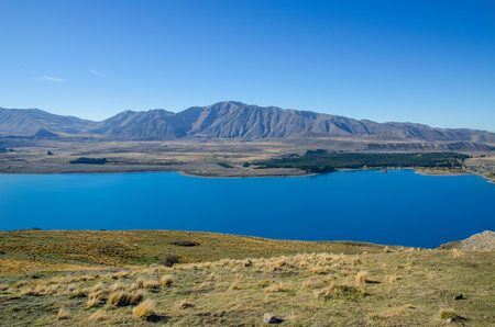 tekapo: Beautiful Lake Tekapo view from the summit of Mount John, New Zealand