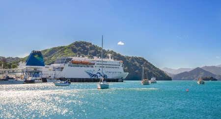 arrived: Picton,New Zealand - April 15,2016 : Interisanders Cook Strait ferry arrived Picton Port from Wellington in New Zealand.