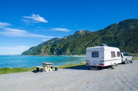 Kaikoura, New Zealand - April 16,2016 : Trailer caravan in Kaikoura beach,New Zealand.