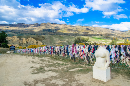 grew: Central Otago,New Zealand - April 29,2016 : Cardrona Bra Fence gradually became a well known site as the number of bras grew to hundreds in Central Otago,New Zealand .