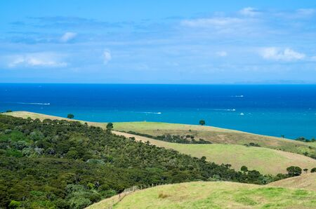 regional: A beautiful Shakespear Bay which is located in the Shakespear Regional Park, Auckland Region, New Zealand Stock Photo