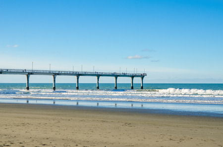brighton: New Brighton Pier in Christchurch, New Zealand