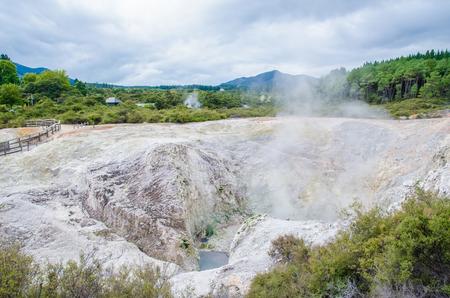 Wai-O-Tapu Thermal Wonderland which is located in Rotorua, New Zealand.