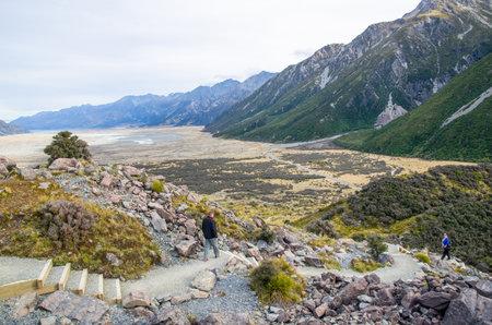 newzealand: Canterbury,New Zealand - May 8,2016 : People can seen walking along the Tasman Valley Walk Track, Aoraki, South Island in New Zealand.