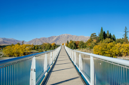 tekapo: Lake Tekapo Footbridge in south island, New Zealand.