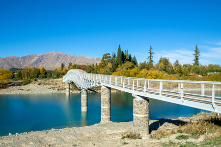 south island new zealand: Lake Tekapo Footbridge in south island, New Zealand.