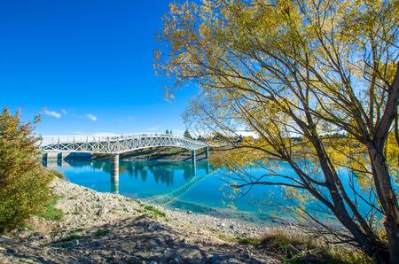 Lake Tekapo Footbridge in south island, New Zealand.