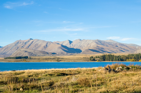 tekapo: Beautiful landscape Lake Tekapo in New Zealand Stock Photo