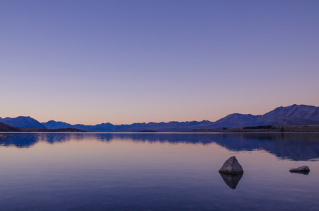 tekapo: Beautiful dawn in Lake Tekapo,New Zealand Stock Photo