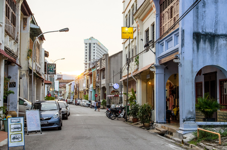 Penang,Malaysia - April 17,2016 : Street view of Penang in Malaysia. People can seen exploring around the street.