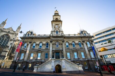 Dunedin,New Zealand - May 3,2016 : Dunedin Town Hall building is a municipal building in the city of Dunedin in New Zealand.It is located at the Octagon, center of Dunedin.