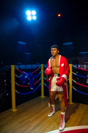 muhammad: Singapore - September 15,2015 : The wax figure of Muhammad Ali in Madame Tussauds Singapore.
