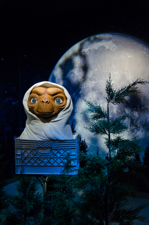 Singapore - September 15,2015 : The wax figure of E.T. the Extra-Terrestrial in Madame Tussauds Singapore.
