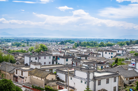 Bird eye view of local historical architecture roof building of Dali Old Town in Yunnan, China.
