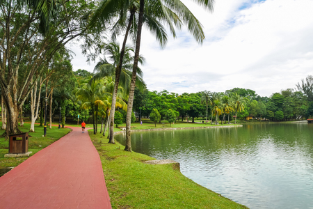 Cheras,Malaysia - June 27,2017 : Permaisuri Lake Garden is one of the famous park in Cheras, there is a pathway for people to jogging and exercise. It also known as Taman Tasik Permaisuri. Editorial