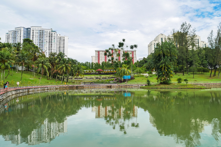 Cheras,Malaysia - June 27,2017 : Permaisuri Lake Garden is one of the famous park in Cheras, there is a pathway for people to jogging and exercise. It also known as Taman Tasik Permaisuri. Editoriali