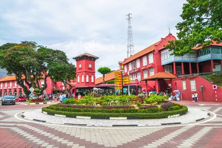 rickshaw: Malacca,Malaysia - July 15, 2017 : Day view of the Christ Church Malacca and Dutch Square. It is capital Malacca Town, listed as a UNESCO World Heritage Site since 7 July 2008. Editorial