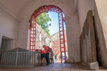 francis: Malacca,Malaysia - July 16, 2017 : Scene of St Pauls Church in Malacca. The church is listed as UNESCO World Heritage.People can seen exploring around the St Paul s Church in Malacca