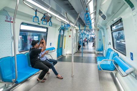 Kuala Lumpur,Malaysia - July 25,2017 : Passengers in the latest MRT (Mass Rapid Transit). MRT is the latest public transportation system in Klang Valley from Sungai Buloh to Kajang. Editorial