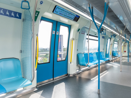 Kuala Lumpur,Malaysia - July 25,2017 : Interior of the MRT, it is the latest public transportation system in Klang Valley from Sungai Buloh to Kajang. Editoriali