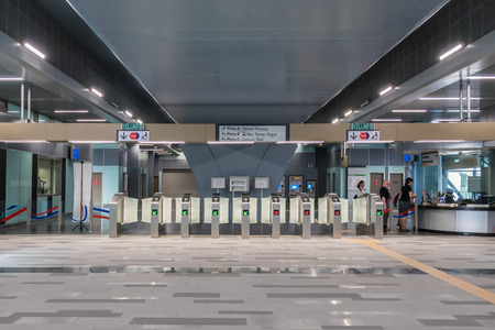 Kuala Lumpur,Malaysia - July 25,2017 : Automatic payment gate at the MRT (Mass Rapid Transit) station. MRT is the latest public transportation system in Klang Valley from Sungai Buloh to Kajang.