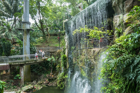Kuala Lumpur,Malaysia - July 31,2017 : Scenic view of the Kuala Lumpur Bird Park, it is also well known as Worlds Largest Free-flight Walk-in Aviary. Editorial