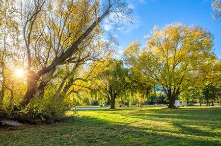 ヘイズ湖の湖畔の秋のビューにあるセントラル ・ オタゴ地方でワカティプ盆地、ニュージーランドの南の島で 写真素材