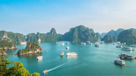 Beautiful Halong Bay landscape view from the Ti Top Island. Halong Bay is a beautiful natural wonder in northern Vietnam near the Chinese border.