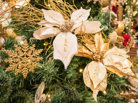 Close up of the Christmas decoration on the Christmas tree. Stock Photo