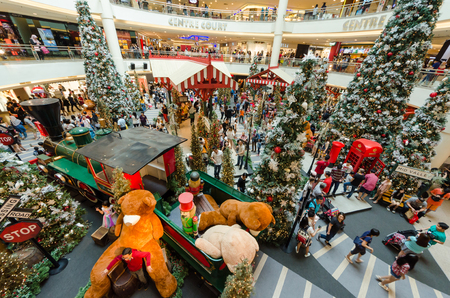 Kuala Lumpur,Malaysia - December 3,2017 : Christmas decoration in Mid Valley Megamall. People can seen exploring and shopping around it. Editorial