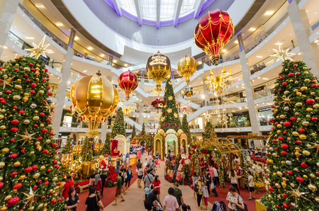 Kuala Lumpur,Malaysia - December 4,2017 : Christmas decoration in Pavilion Kuala Lumpur. People can seen exploring and shopping around it.