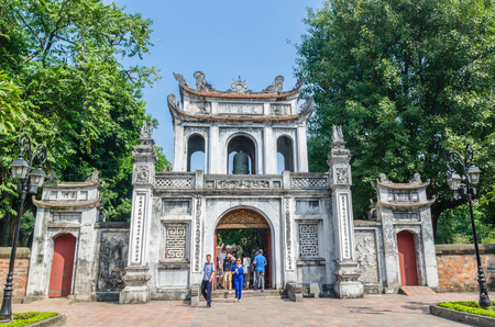 Hanoi,Vietnam - November 1,2017 : Entrance of the Temple of Literature, it also known as Temple of Confucius in Hanoi. People can seen exploring around it. Editorial