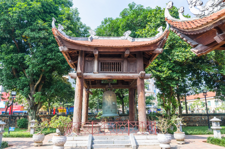 Hanoi,Vietnam - November 1,2017 : Giant bell located in the garden of the Temple of Literature, it also known as Temple of Confucius in Hanoi. Editorial