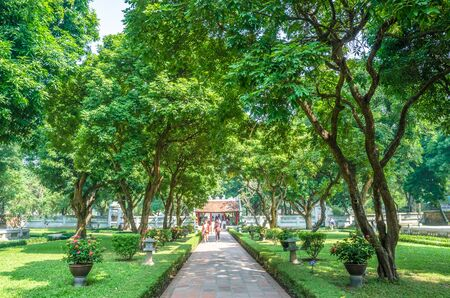 Hanoi,Vietnam - November 1,2017 : Garden of the Temple of Literature, it also known as Temple of Confucius in Hanoi. People can seen exploring around it.
