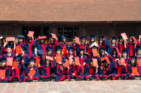 Hanoi,Vietnam - November 1,2017 : Vietnamese students taking graduation photo at the Temple of Literature, it also known as Temple of Confucius in Hanoi.