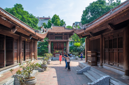Hanoi,Vietnam - November 1,2017 : Temple of Literature also known as Temple of Confucius in Hanoi.People can seen exploring around it.
