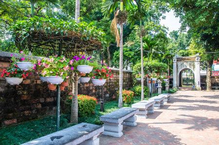 Hanoi,Vietnam - November 1,2017 : Garden in Temple of Literature, it also known as Temple of Confucius in Hanoi.
