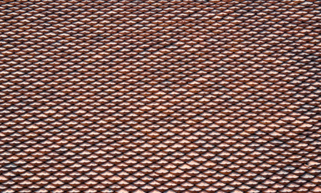 Red tiles roof texture on Temple of Literature,Hanoi Vietnam.