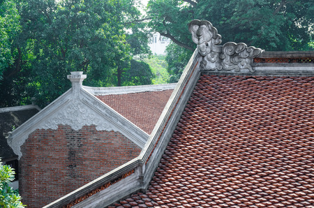 The architecture and decoration on the roof in Temple of Literature in Hanoi,Vietnam.