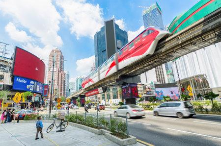 Kuala Lumpur, Malaysia - December 18,2017 : KL Monorail train public transport passing through Bukit Bintang area. People can seen exploring around it. Editoriali