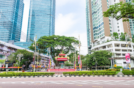 Kuala Lumpur, Malaysia - Feb 7,2017 : Brickfields Junction Fountain is the local point of KL's official 'Little India'. Symbolic elements in the fountain's design include elephants, swans and lotuses. Sajtókép