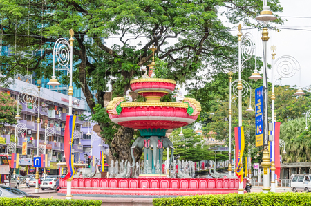 Kuala Lumpur, Malaysia - Feb 7,2017 : Brickfields Junction Fountain is the local point of KL's official 'Little India'. Symbolic elements in the fountain's design include elephants, swans and lotuses.