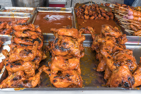 Tasty ayam madu percik (Honey chicken) selling in Ramadan Bazaar during the holy month of Ramadan.