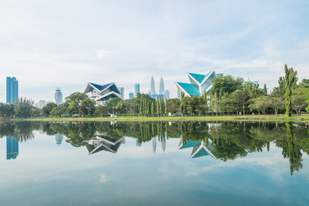 Beautiful morning view of the Kuala Lumpur skyline at Titwangsa Lake Gardens.